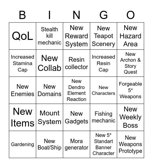 GI v.1.7/2.0 Inazuma Stream Bingo Card