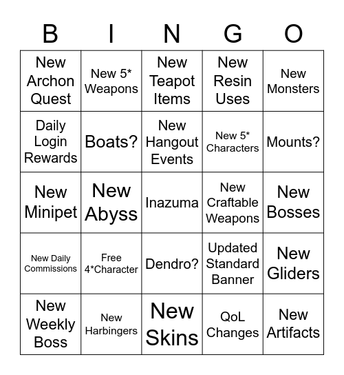 1.7 Livestream Bingo Card