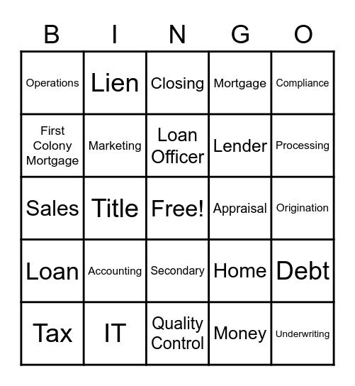 First Colony Mortgage Bingo Card