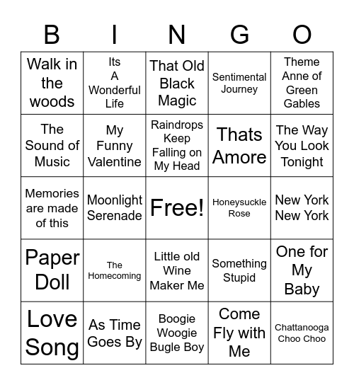 Hits of the forties and Beyondntitled Bingo Card