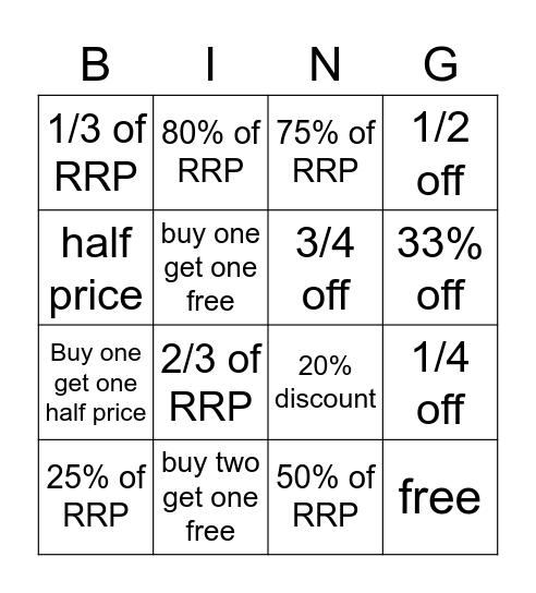 Discount Maths Bingo Card