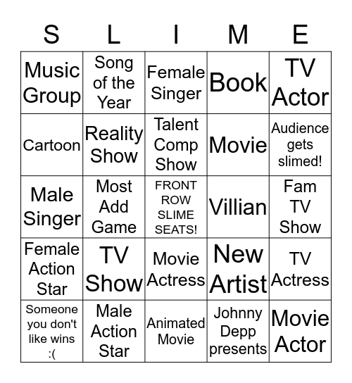 Kid's Choice Awards 2016 Bingo Card