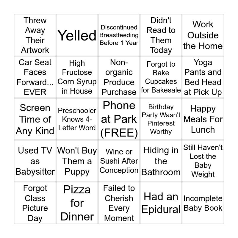 Mom Guilt Bingo Card