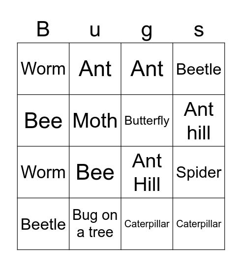 Bug Bingo Card