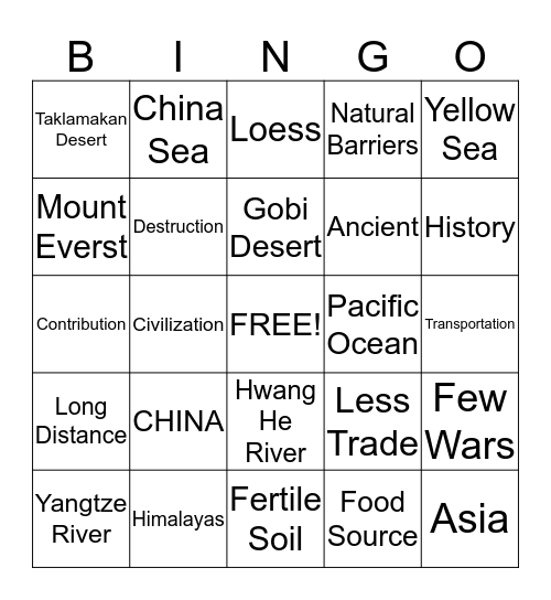 Ancient China Bingo Card
