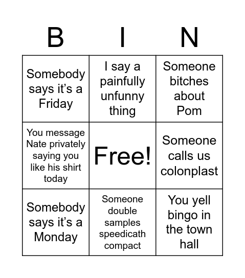 Try and stop me admins Bingo Card