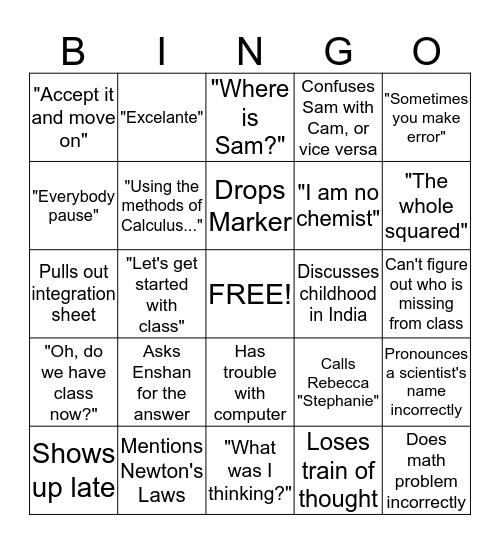 Physics Bingo Card