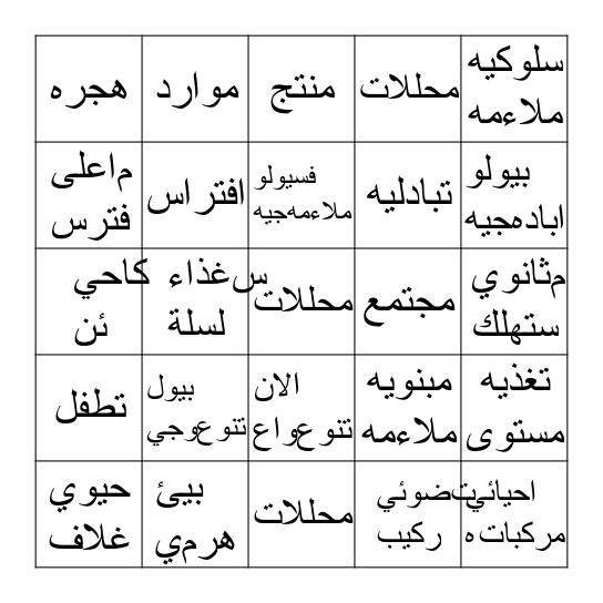 منظومات بيئيه  Bingo Card