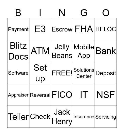 Mortgage Bingo Card