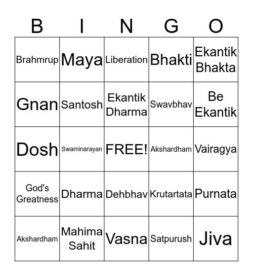 Ekantik Dharma Bingo Card