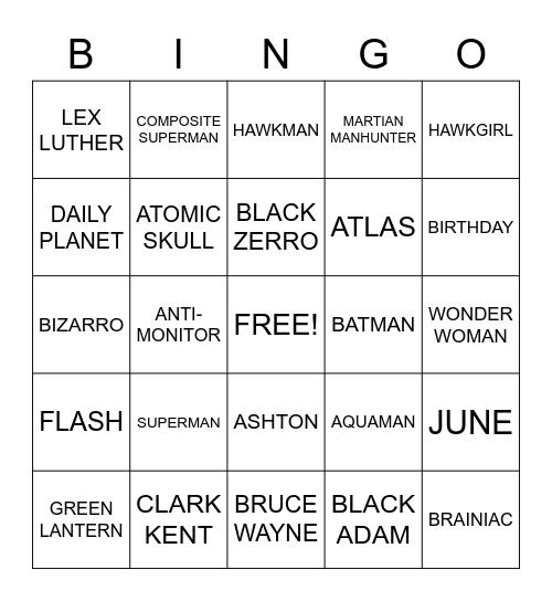 SUPERMAN Bingo Card
