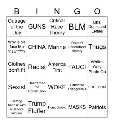Josh Mandel Bingo Card