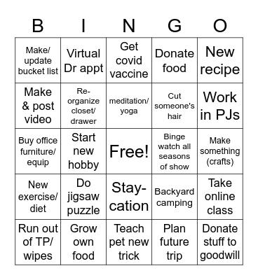 Pandemic Activities Bingo Card