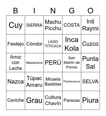 Bingo Peruano: Bingo Card