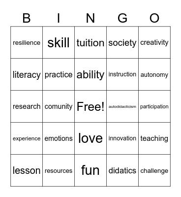 Education Bingo Card
