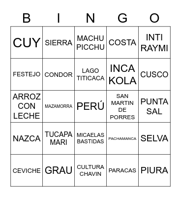 BINGO PERUANO Bingo Card