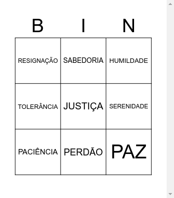 BINGO DOS AVÓS Bingo Card