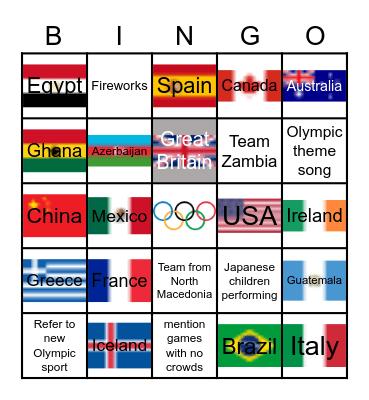 Summer Olympics Tokyo 2021 Bingo Card