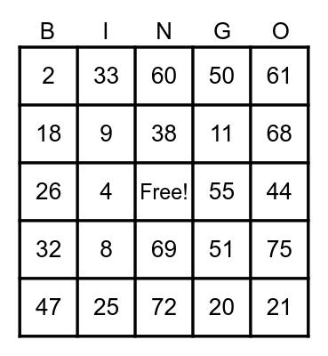 Untitled CHIQUI'S Bingo Card