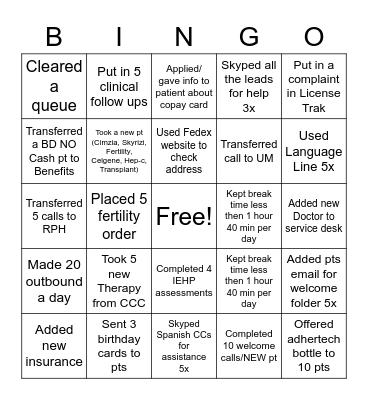COE Bingo Card