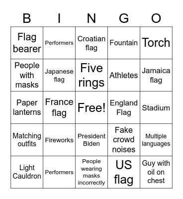 Olympics Bingo Card