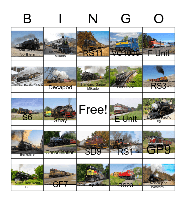 Locomotives and Rolling Stock Bingo Card
