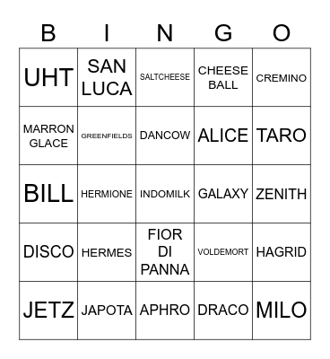 PJMLYF Bingo Card