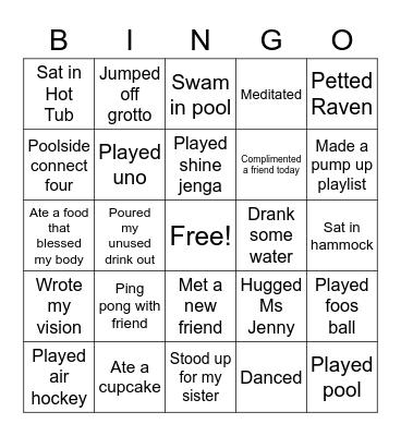 Shine Bingo Card