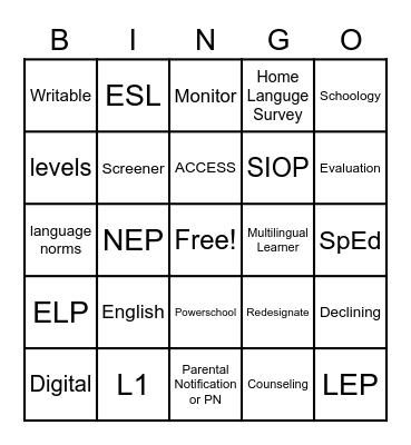 EL Forum Training Bingo Card