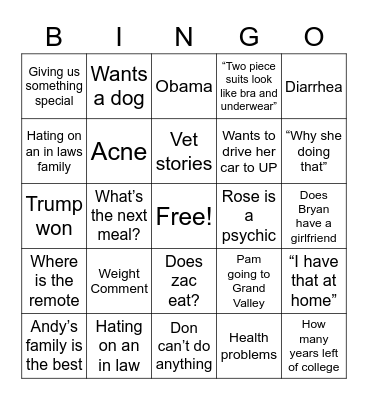Grandmas House Bingo Card