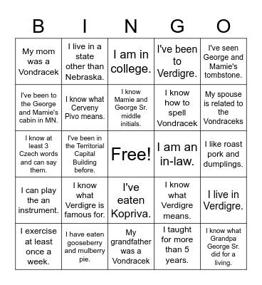 Vondracek Family Bingo Card