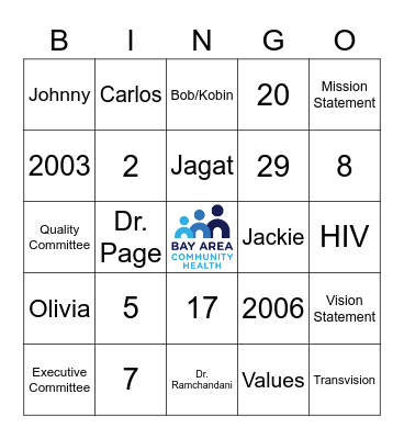 BACH Board of Directors BINGO Card
