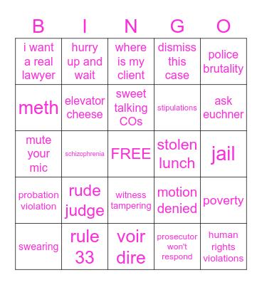 PUBLIC DEFENDER Bingo Card