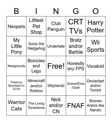 Cringe Kid Bingo Card