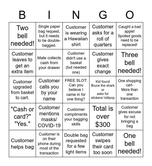 Trader Joe's Bingo Card
