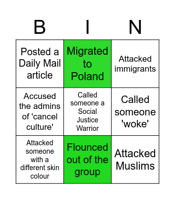 Ivan Kinsman Bingo Card