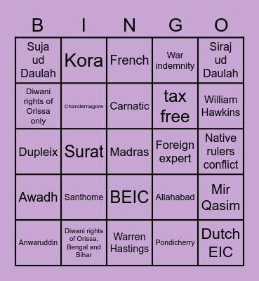 Treaty of Allahabad Bingo Card