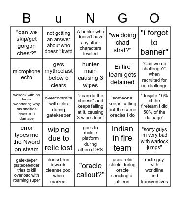 BUNGO Bingo Card
