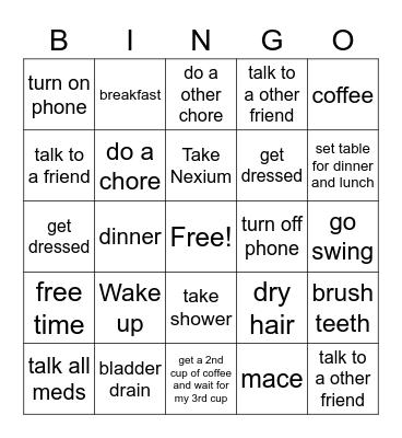 Sunday Bingo Card