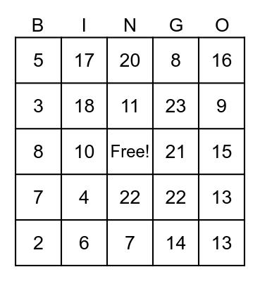 Quoc Tan Bingo Card