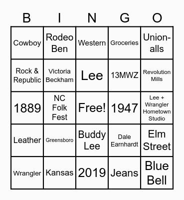 Kontoor Bingo Card