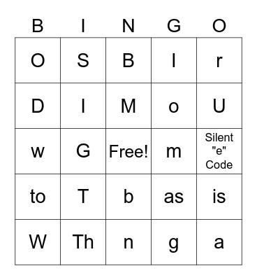 Secret Codes BINGO Card