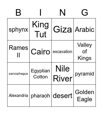 Eygpt Bingo Card