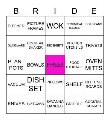 Savanna's Bridal Shower Bingo Card