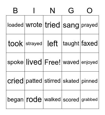 Past Tense Verbs Bingo Card