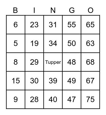 Tupper da Pami Bingo Card