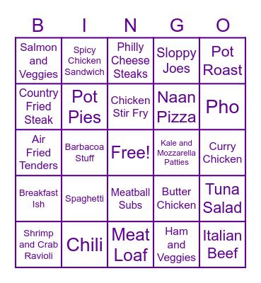 Dinner Bingo Card