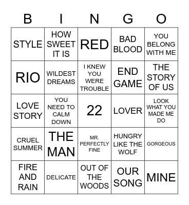 Taylor Bingo Card