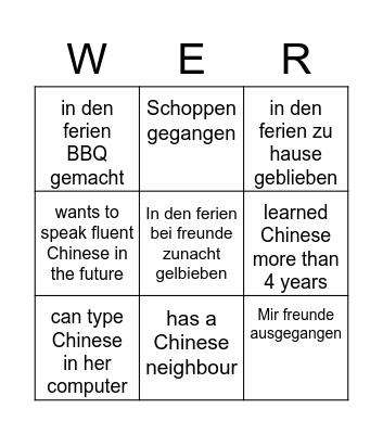 Finde jemand der... Bingo Card