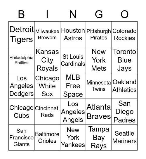 Major League Baseball Bingo Card